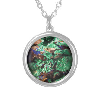 Malachite Lapis Azurite Gems Gemology Rock Round Pendant Necklace