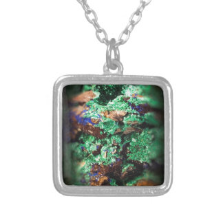 Malachite Lapis Azurite Gems Gemology Rock Square Pendant Necklace
