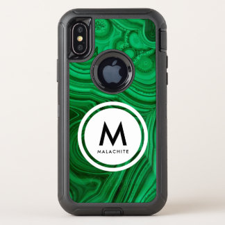 Malachite Mineral Monogram OtterBox Defender iPhone X Case