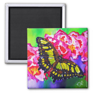 Malachite on Red Flowers 2 Inch Square Magnet