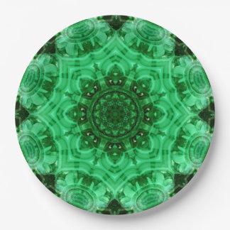 Malachite Star Mandala Paper Plate