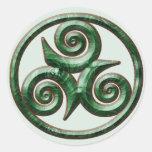 Malachite Triskel Classic Round Sticker