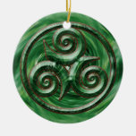 Malachite Triskel Double-Sided Ceramic Round Christmas Ornament