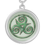 Malachite Triskel Round Pendant Necklace