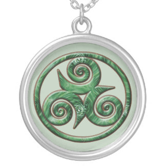 Malachite Triskel Silver Plated Necklace