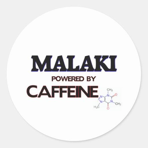 Malaki powered by caffeine classic round sticker