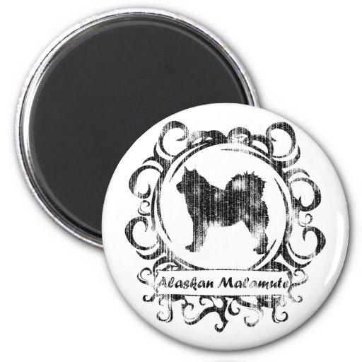 Malamute de Alaska resistido con clase Imán Redondo 5 Cm