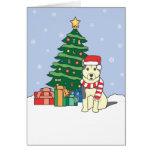 Malamute de Alaska y árbol de navidad Felicitacion