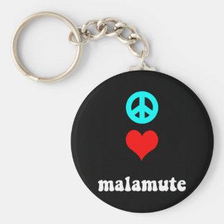 Malamute del amor de la paz llavero redondo tipo pin