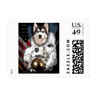Malamute del astronauta sello postal
