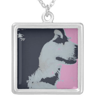 Malamute Dog Pop Art Silver Plated Necklace