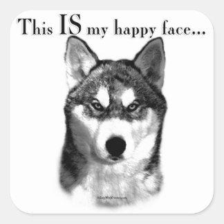Malamute Happy Face Square Sticker