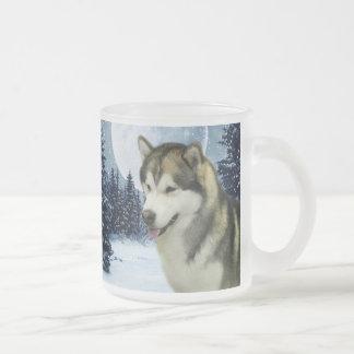 Malamute 10 Oz Frosted Glass Coffee Mug