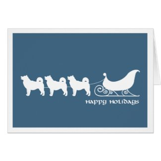 Malamutes Pulling Santa's Sleigh Greeting Card