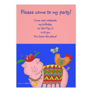 Malanky Pig Ukrainian Folk Art 5x7 Paper Invitation Card