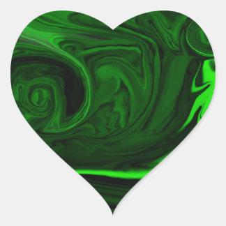 malaquita verde de la textura pegatina en forma de corazón