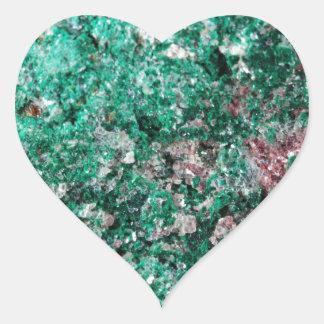 Malaquita y cobre pegatina en forma de corazón