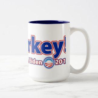 ¡Malarkey! Reelija a presidente Obama Joe Biden 20 Taza Dos Tonos