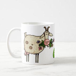 malas hierbas conseguidas cabra taza básica blanca