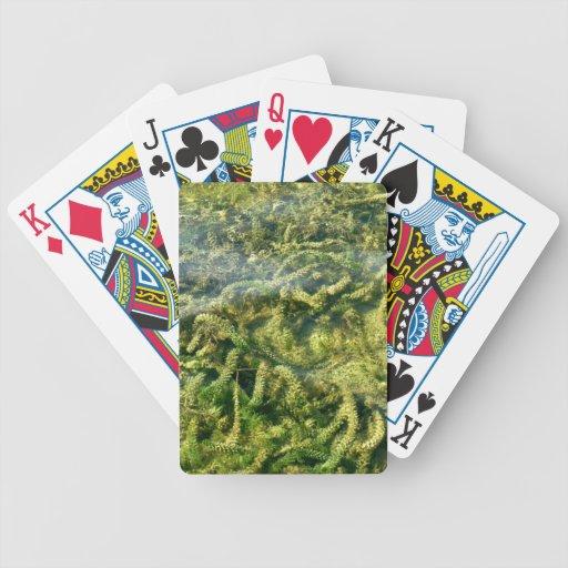 Malas hierbas del agua bajo fondo del agua baraja cartas de poker