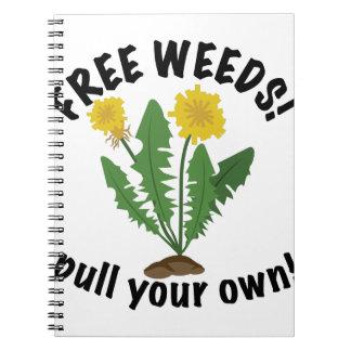 Malas hierbas libres libros de apuntes con espiral