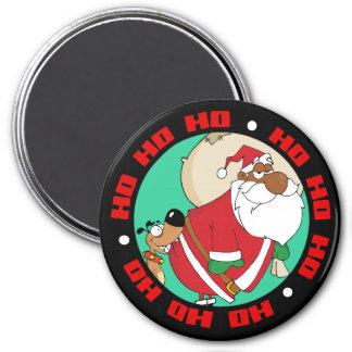 Malas mordeduras de perro Santa negro en el Imán Redondo 7 Cm