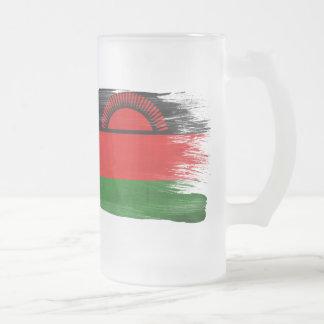 Malawi Flag Frosted Glass Beer Mug