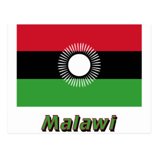 Malawi Flag with Name Postcard
