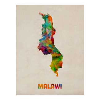 Malawi Watercolor Map Posters
