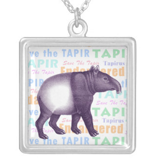 Malay or Asian Tapir - Save the Tapir Square Pendant Necklace