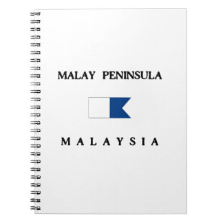 Malay Peninsula Malaysia Alpha Dive Flag Spiral Notebook