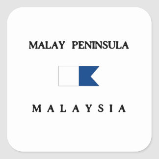 Malay Peninsula Malaysia Alpha Dive Flag Square Sticker