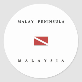 Malay Peninsula Malaysia Scuba Dive Flag Classic Round Sticker