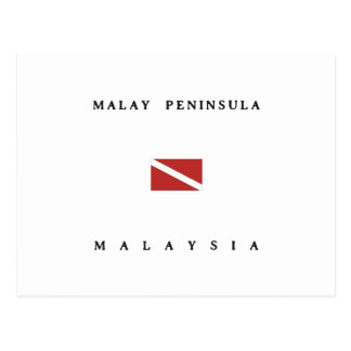 Malay Peninsula Malaysia Scuba Dive Flag Postcard