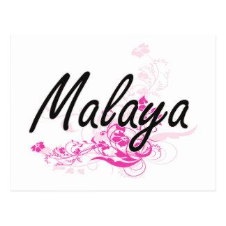 Malaya Artistic Name Design with Flowers Postcard