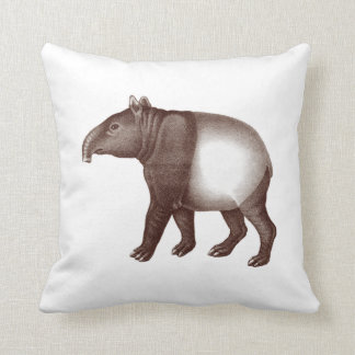 Malayan Asian Tapir Antique Illustration Throw Pillow