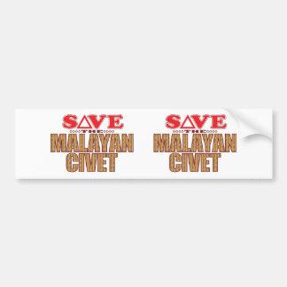 Malayan Civet Save Bumper Sticker