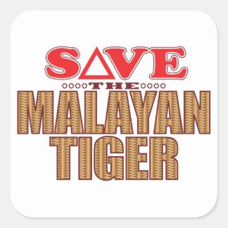 Malayan Tiger Save Square Sticker