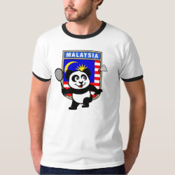 Men's Basic Ringer T-Shirt with Malaysia Badminton Panda design