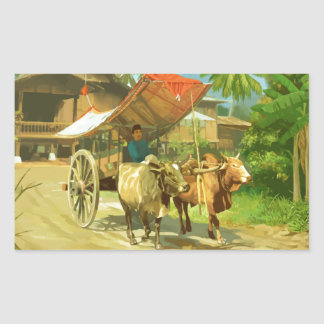 Malaysia - Bullock Cart Rectangular Sticker