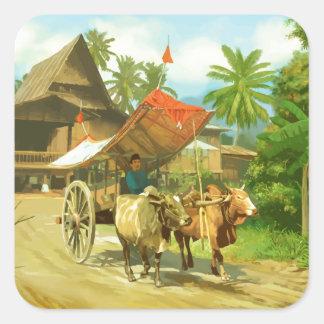 Malaysia - Bullock Cart Square Sticker