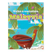 Malaysia cartoon travel poster art. postcard