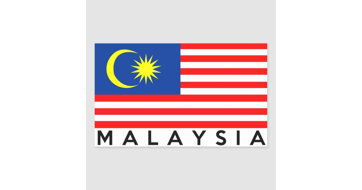 Malaysia Flag Country Text Name Rectangular Sticker Zazzle