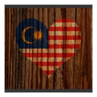 Malaysia Flag Heart on Wood theme Poster
