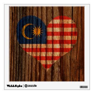Malaysia Flag Heart on Wood theme Wall Decal