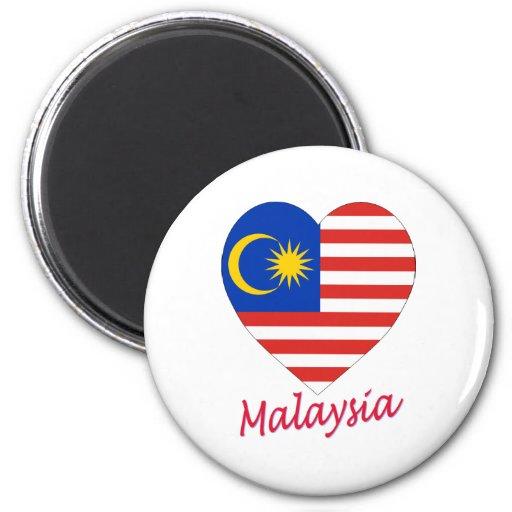 Malaysia Flag Heart Refrigerator Magnets