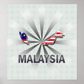 Malaysia Flag Map 2.0 Poster