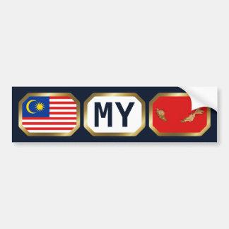 Malaysia Flag Map Code Bumper Sticker Car Bumper Sticker