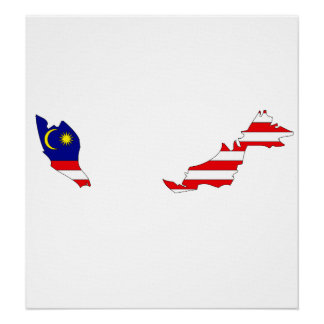 Malaysia Flag Map full size Poster