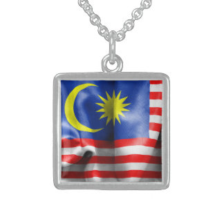 Malaysia Flag Sterling Silver Necklace